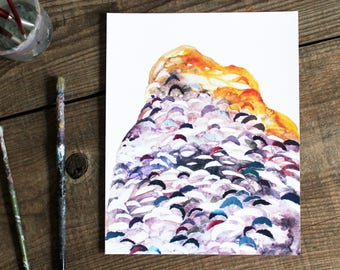abstract landscape wall art print - watercolor 8x10 yellow purple ochre mountain collage home decor modern art