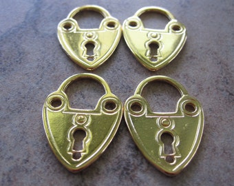 4 Gold-Plated Pewter Charms, 21x15mm Double-Sided Lock - JD109