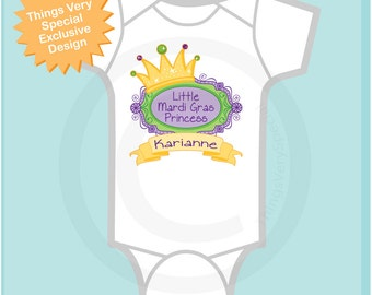 Mardi Gras Princess Onesie, Personalized Princess Shirt or Onesie, Princess Shirt for Toddlers and Kids 02072012a1