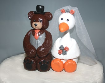 Teddy Bear and Goose Cake Topper - Mix and Match - Custom Made - Bride and Groom - Wedding Colors - Bear Cake Topper - Goose Cake Topper