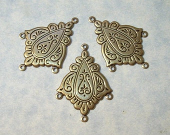 Lot of 3 Etched Brass 4 Ring Connectors Earring Components