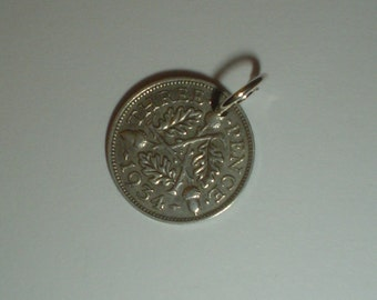 Coin charm silver 3D 1934 threepenny threepence Joey vintage