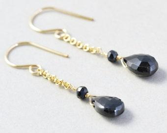 Black Spinel Dangle Earrings, Gold Chain Earrings, Black Drop Earrings
