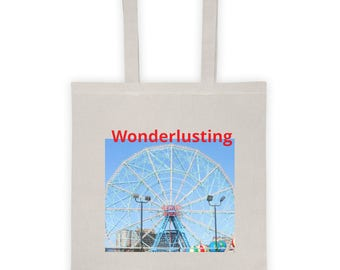 Wonderlusting Tote for carrying groceries, books or for travel, makes a great gift for women