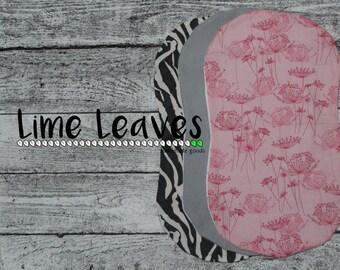 Pink Dandelions and Zebra Burp Cloth Set of 3 (Cotton & Flannel)