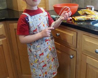 Boys Art Smock Gray, Japanese Apron, Crossback Apron with Power Tools Construction, Kindergarten Apron, Preschool, No Ties Apron, Adjustable