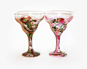 Margarita Glasses Personalized Brown Camo for him Pink Camo for her Set of  2 -  12 oz. Margarita Glasses His and Hers