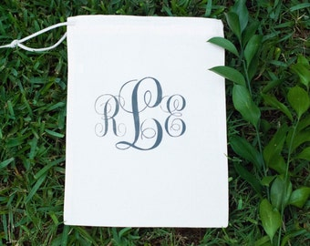 Custom Personalized Cotton Canvas Natural Drawstring Grey Gray Monogram Lingerie Bag, Shoe Bag, Travel Bag, Wedding Bag, Bridesmaid Bag