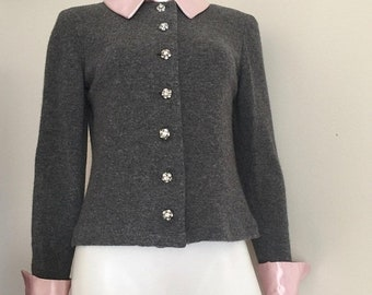 80s Does 50s / Grey Sweater / Rhinestone Cardigan / 60s Style / Sweater Girl / Mad Men Style / Evening Sweater