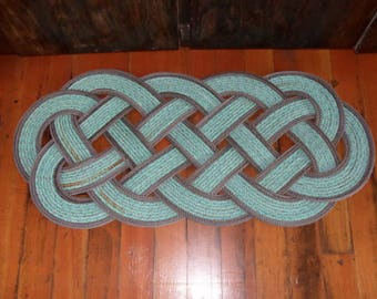 "40"" x 18"" Rope Rug Green with Double Brown Accent Perfect at Lake, Beach, Cabin,Nautical Decor Doormat Tuquoise Teal"