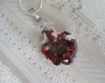 Love Is In The Air-Tiny Red Rose Petals,Pink Hearts-Heart Shaped Glass Terrarium Reliquary Pendant-Gifts Under 30-Symbolizes True Love