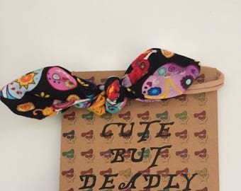 Day of the dead baby bow headband