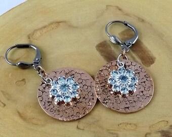 Aquamarine Blue Copper Eclipse hand textured copper and Swarovski crystal gunmetal leverback earrings