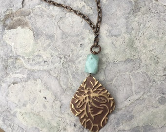 Dragonfly Scene with Amazonite - long chain & removeable pendant