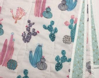 Pink Cactus Wholecloth Quilt
