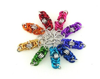 Chainmaille Stitch Markers; bright; multicolored