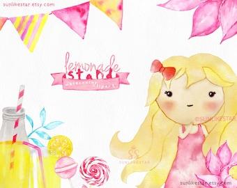 Pink Baby Girl Clipart — Cute Girl Clipart — watercolor clipart, lemonade clipart, nursery clipart, baby shower clipart, little girl clipart