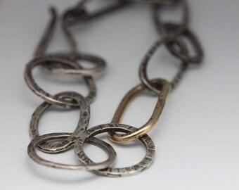 Silver Link Bracelet, Gold Link, Unique, Mixed Metals, Textural Statement Piece, Unisex