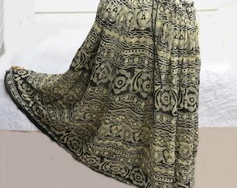 Vintage 1970 Indian Cotton Gauze Hippie Skirt   #538