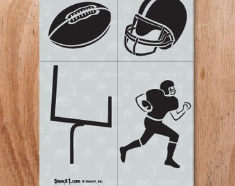 Football 4 Pack Stencil- Reusable Craft &DIY Stencils- S1_4P_23 -8.5x11- By Stencil1