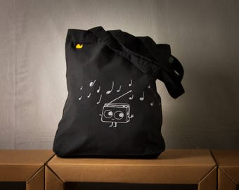music cotton canvas tote bag for shopping cute dancing Radio music graphic  - in multiple colors