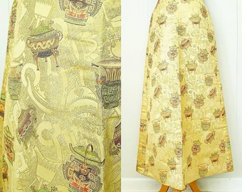 50s Asian Inspired Gold Embroidered Maxi Skirt by Greta's
