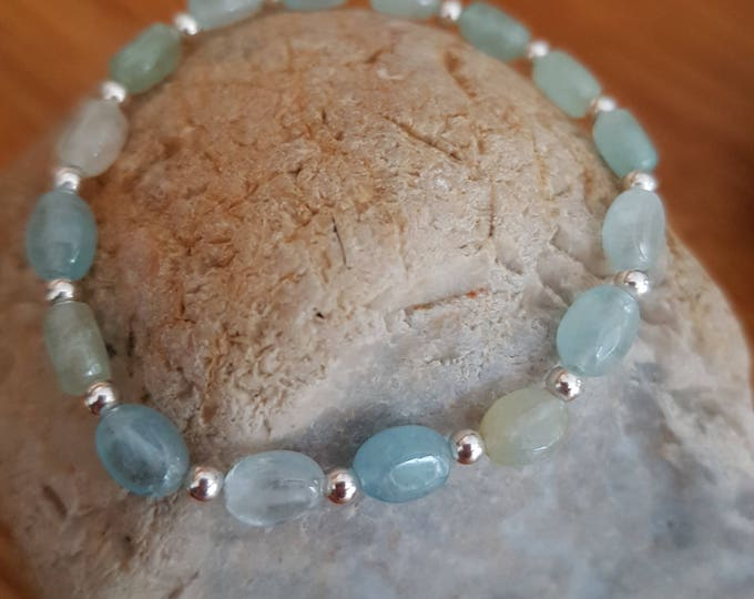 AQUAMARINE and Sterling Silver stretch bracelet - March Birthstone jewelry gift