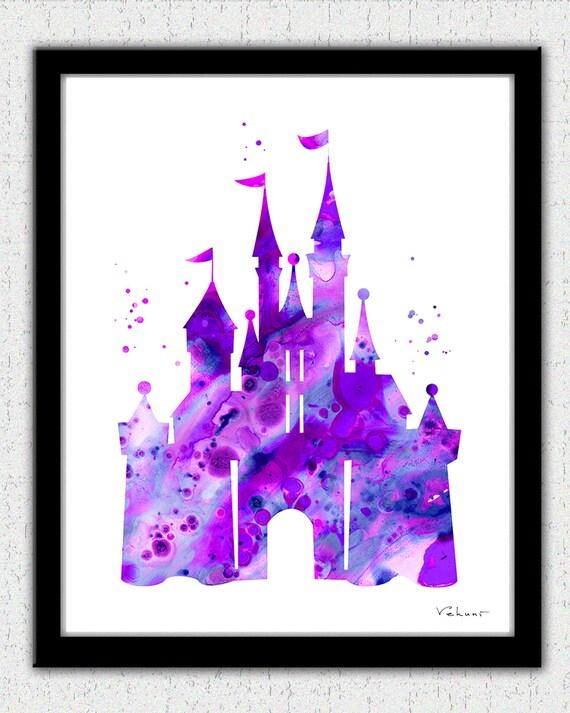 purple cinderella castle print disney castle princess castle - Dessin Chateau Disney
