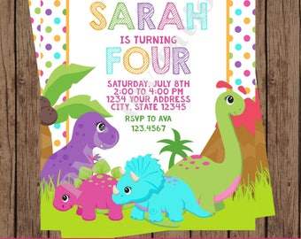 Custom PRINTED Girl Dinosaur Birthday Invitations - 1.00 each with envelope