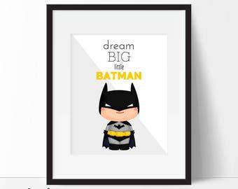 Batman Print, Batman Printable, Batman Art, Nursery Decor, Superhero Wall Art, Boys Room Decor, Superhero Art, Instant Download