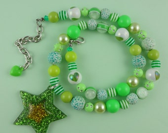 Glittery Green Star Necklace - colourful beaded necklace with a big star shaped pendant full of sparkly glitter, and lots of mixed beads