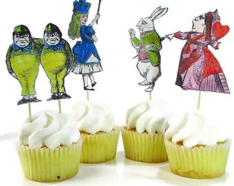Alice in Wonderland Cake Topper, Alice Cupcake Toppers, Unbirthday Party Decorations, Mad Hatter Tea Party, Queen of Hearts, White Rabbit