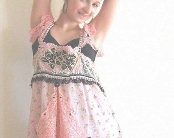 RESERVED DEPOSIT for Cinderellapunk - Candy Girl Top, Vintage Fabric, Lace, Pretty, Floaty, Layered, Beaded, Pink, Gold, Black, Boho