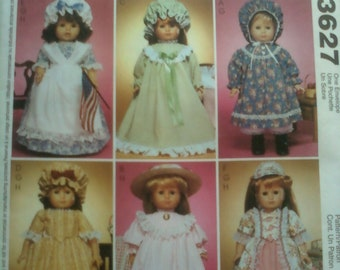 """McCall's Crafts Sewing Pattern 3627 for 18"""" Doll Clothes"""