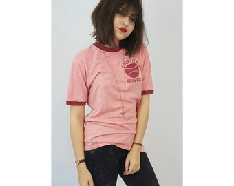 70s Vintage Pink Ringer Tee - Medium Large Red Lettering Vtg Slouchy Shirt - Womens Soft Thin Faded Retro Lakeview Baseball T-shirt