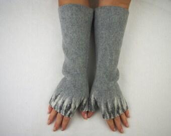 Long Felted Fingerless gloves Fingerless Mittens Arm warmers Gloves -Light Gray