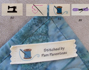 """Sewing Themed Small size Custom Clothing Labels 3/4"""" x 2 3/4"""""""