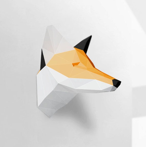 Fox Sculpture, Papercraft, Make Your Own Paper Fox, Room Decoration, Paper  Craft Animal, Polygonal, Low Poly, Printable DIY Template, PDF From  PolySheet On ...
