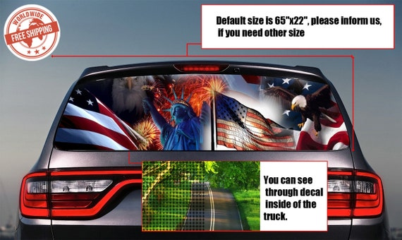 828 usa flag rear window tint perforated decals stickers