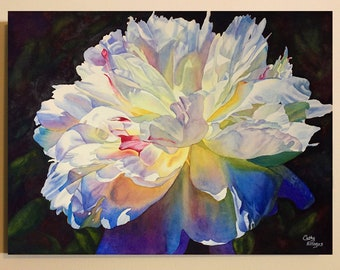 White Peony Canvas Art Watercolor Painting Print by Cathy HIllegas, 12x16 canvas print, watercolor peony, watercolor flowers, gifts for mom