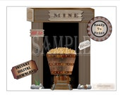 "Gold Mine Set ~ Printable Wild West Party Wedding Props ~ 5 PDF File Images ~ Mine Shaft Entrance, Wooden Cart, Tracks, ""Danger"" ""Keep Out"""