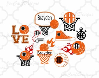 Basketball SVG Monogram Frames Svg, Eps, Dxf, Studio3 Flame Basketball Cut Files for Silhouette Studio Cricut Design Space, Cutting Machines