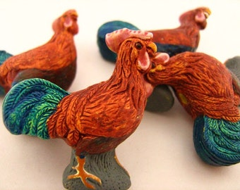 4 Large Rooster Beads - LG195