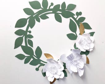 Paper Flower Wreath Loop Spring Wedding Rifle Paper Co Modern Decor Baby Shower Nursery Bride Wedding Photo Booth. Photo Backdrop. Wedding