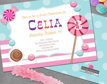 Cotton Candy Invite Cotton Candy Invitation Sugar Candy