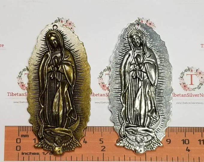 1 pc per pack 81x39mm Extra Large size Lady Guadalupe Pendant in Antique Bronze lead free Pewter.