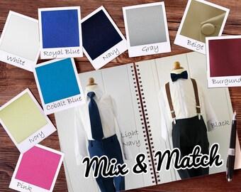 Mix and Match Colors Baby to Boys Suit Dress Pants, Shirt, Tie, Bowtie, Suspender