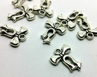 X 1 charm - Knot Ribbon Bow - silver