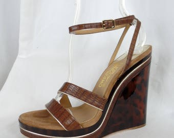 "vintage FERRAGAMO super high 5 1/4"" tortoise pattern LUCITE WEDGE ankle strap sandal: US8.5 woman"