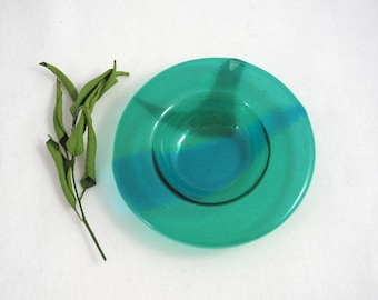 Green Fused Glass Bowl - Misty Greens and Blues - Glass Dessert Bowl - Candle Dish - Cereal Bowl - Decorative Glass Bowl - Artglass Bowl